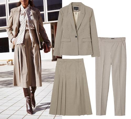 Rutig kavaj, kjol och byxor, 1299 kr, 799 kr och 699 kr.
