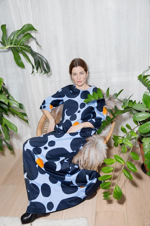 Dress from Marimekko and shoes from Céline.
