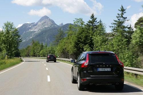 Vindlande alpvägar satte XC60 på prov. Den visar sig vara en körvagn av rang. Chassit är i grunden en förhöjd V70 AWD.