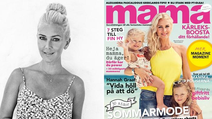 Hanna Graaf med döttrarna Vida och Liv på mama nr 7 2014.