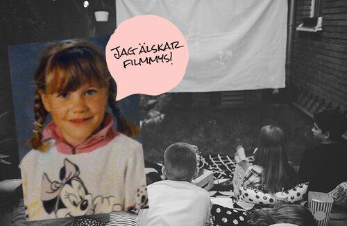 7-åriga Linnea tyckte att filmkalas (och Mimmi Pigg) var grejen.