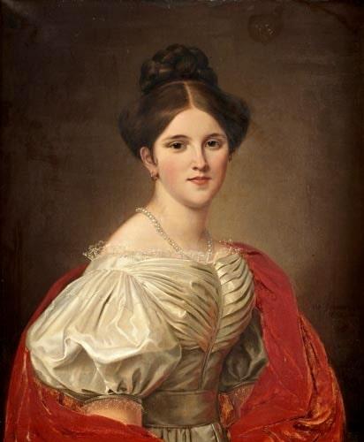 Den nedkasade puffärmen var högsta mode på 1830-talet, som i detta porträtt av Marianne Kantzow, målat av Olof Södermark 1832. Foto: Bukowskis.
