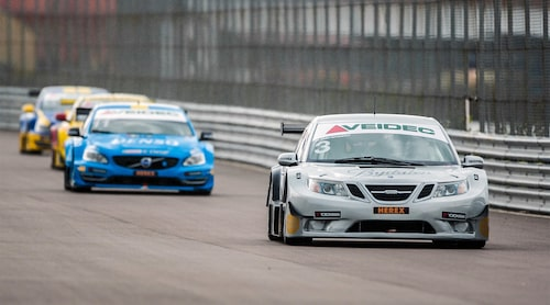 Richard Göransson och hans Saab plockade två tredjeplatser i kvalet.