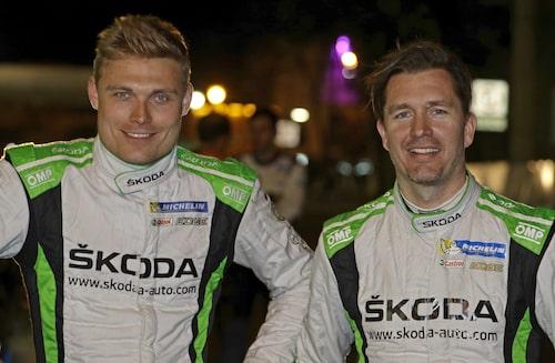 Pontus Tidemand med co-driver Jonas Andersson. Ett vinnande team i Mexiko.