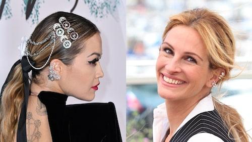 Rita Ora i ear cuffs med bling som går hela vägen uppför örat, och Julia Roberts i ear cuffs utspridda.