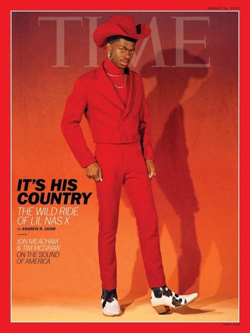 Lil Nas X på omslaget till Time stylad av Hodo Musa.