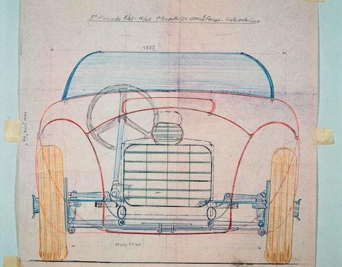 Skiss från hösten 1945 på Ferraris första bil, 125 S.