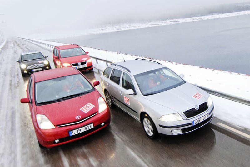 Toyota Prius, Skoda Octavia 1,6 Greenline Etanol E85, Mini Cooper 1,6D Clubman och Volkswagen Touran 2,0 EcoFuel fungerar utmärkt i vinterväder.