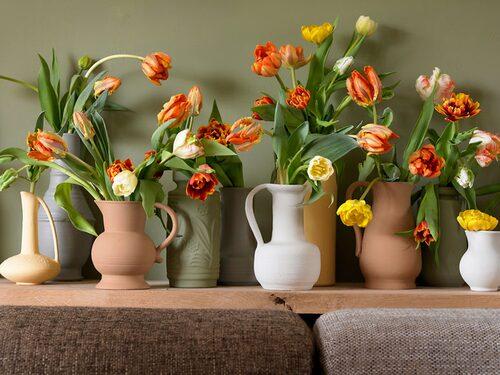 Stilleben av tulpaner i vaser