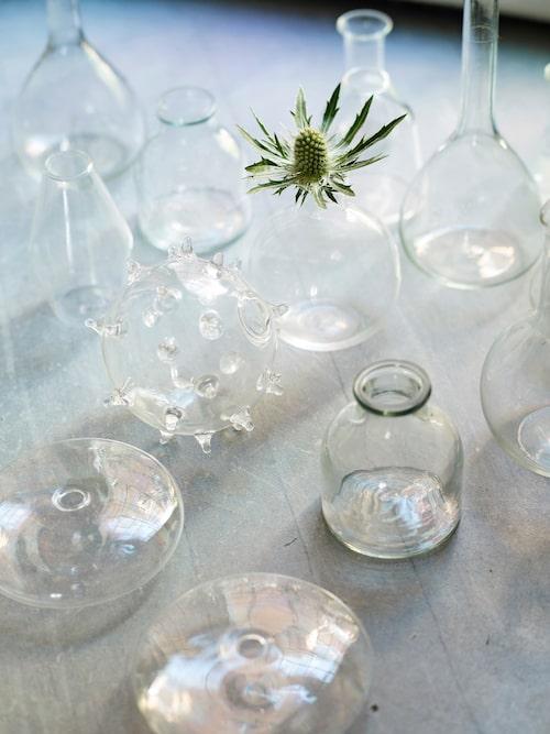 Små glasflaskor och vaser blir smycken i matsalsfönstret.