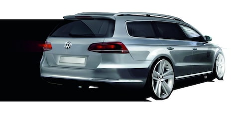 Nya Volkswagen Passat Variant som skiss.