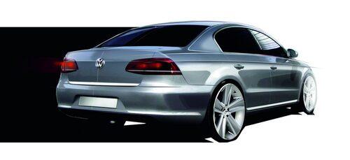 Nya Volkswagen Passat som skiss.
