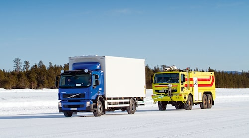 Till testet använde vi en Volvo FE 300 4x2 med skåppåbyggnad.