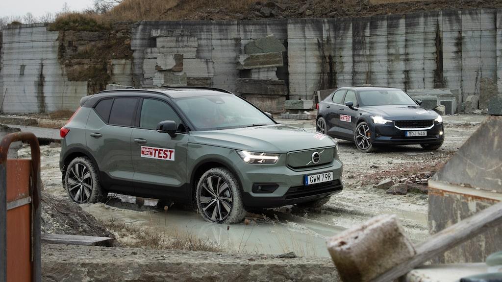 Syskonen gör upp om att vara koncernens bästa elbil. Vi testar Volvo XC40 Recharge P8 AWD och Polestar 2 Performance på svenska vägar, i svenska förhållanden.