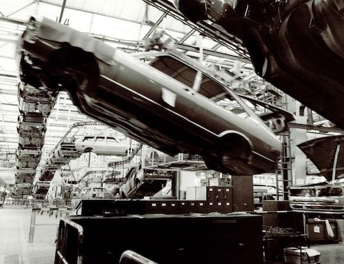 Volkswagen Passat-tillverkningen i Emden-fabriken 1978.