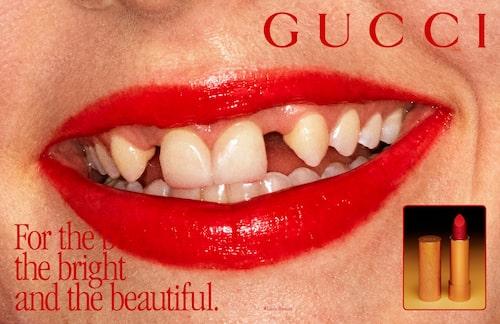 Dani Millers tänder i Gucci-kampanjen, som fick många följare att reagera.