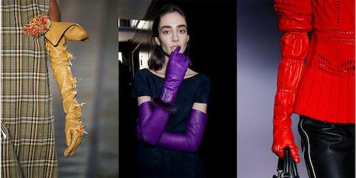 Handskar i färg från Toga, Salvatore Ferragamo och Altuzarra.