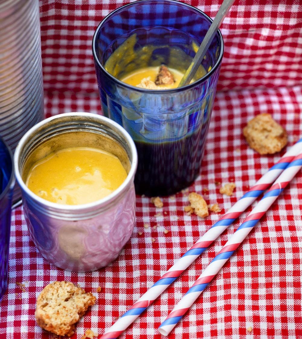 Morots- och kokossoppa. Tips! Testa att laga soppan med sötpotatis eller pumpa i stälelt för morot.
