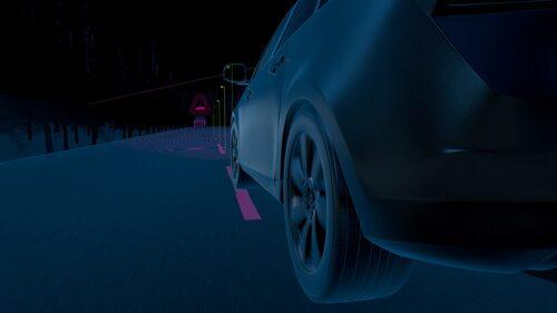 Volvo Oncoming Lane Mitigation. Om Volvo-bilen är på väg över till motsatt körfält styr bilen automatiskt tillbaka.