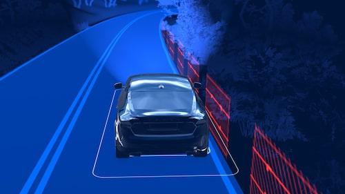 Volvo Road Edge Mitigation håller bilen på vägen.