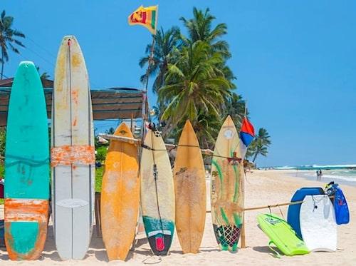 Surfing är stort på Sri Lanka.
