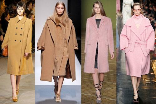 Bilderna på Marc Jacobs, Max Mara, Jill Sanders, Carvens oversizade kappor blev snabbt synonymt med höstmodet 2014. Vill du pricka trenden mitt i prick är det rosa eller kamelfärgat som gäller, men trenden kommer i många nyanser så det finns alla möjligheter att välja den som passar dig bäst.