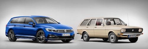 Det har hänt en hel del med Passat sedan introduktionen under 1970-talets första halva. Här ses Volkswagen Passat Sportscombi R-Line av årsmodell 2020 (om du av någon anledning inte har någon koll alls på bilar så är det den till vänster) och Volkswagen Passat Variant av årsmodell 1976.