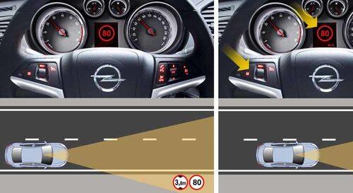 Opel Eye är en kamera som läser av trafikskyltar. Föraren informeras via displayen mellan varvräknaren och hastighetsmätaren. Systemet varnar även om bilen kommer ur kurs och går över de vita linjerna.