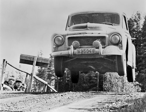 En som inte tvekade att använda sin PV 544 fullt ut var Gunnar Andersson i Svenska Rallyt i juni 1958.