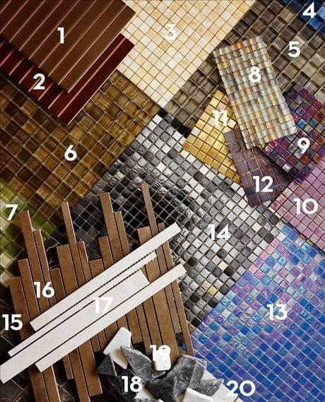 1. Porcelanosa stick Tabacco, och 2. Porcelanosa stick Pulpis, båda 20x31,6 cm, 595kr/kvm, Kakelpalatzet. 3. Polerad marmormosaik Onyx honung, 14x14 mm, 505kr/kvm, Marmorfabriken. 4. Blue brushed glasmosaik, och 5. Grey brushed glasmosaik, och 6. Brown brushed glasmosaik, och 7. Green brushed glasmosaik, alla fyra, 23x23 mm, 995kr/kvm, Kakelslottet. 8. Glasmosaik i pastellfärger, Transulent moonlight, 11x11 mm, 1550kr/kvm, Charisma nordic. 9. Lila mosaik, Rainbow, rc35, och 10. Ljuslila mosaik, Rainbow, rc33, och 11. Gul mosaik, Rainbow, serie rb56, alla tre 15x15 mm, 1875kr/kvm, Charisma nordic. 12. Lila mosaik, Gem, g118, 20x20 mm, 1350kr/kvm, Charisma nordic. 13. Dark blue metallic mosaik, och 14. Dark grey metallic mosaik, båda ytterligare tre färger finns, 15x15 mm, 1195kr/kvm, Kakelslottet. 15. Polerad marmormosaik, Nero marquina, 48x48 mm, 460kr/kvm, Marmorfabriken. 16. Brun stavmosaik, Damasco granitkeramik nr 5309, 29x31 cm, 1855kr/kvm, Konradssons kakel. 17. Vit stavmosaik, 1095kr/kvm, Kakelpalatzet. 18. Natursten, Petra nero Marquina, 530kr/kvm, Svenska kakel. 19. Petra blanco Carrara, 290kr/kvm, från Svenska kakel. 20. Slate creme mosaik, granitkeramik nr 7834, 29x31 cm, 1755kr/kvm, Konradssons kakel.