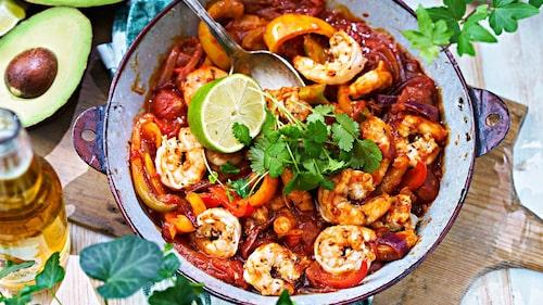 Recept på fajitas med king prawns.