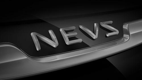 Nevs nya logotyp så som den ser ut när den pryder kommande elbilen baserad på 9-3. En viss Saab-likhet ändå (bortsett från själva namnet och bokstäverna).