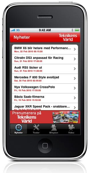 Med Teknikens Världs nya app kan du läsa motornyheter, bilspionbilder, ta del av tester och se våra filmklipp från TV-TV direkt i din iPhone eller iPod.