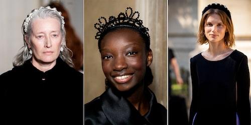 Snabbt festfin i diadem! Till vänster och mitten: Simone Rochas visning. Till höger: modellen Giedre Dukauskaite i diadem från Wald Berlin.