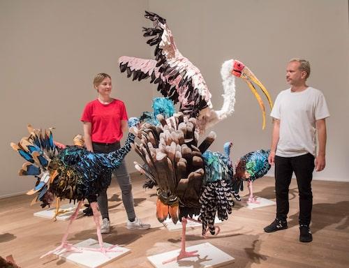 Nathalie Djurberg och hennes samarbetspartner Hans Berg när de ställde ut på Moderna Museet i Stockholm