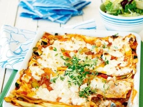 Lasagne, vegetarisk med feta