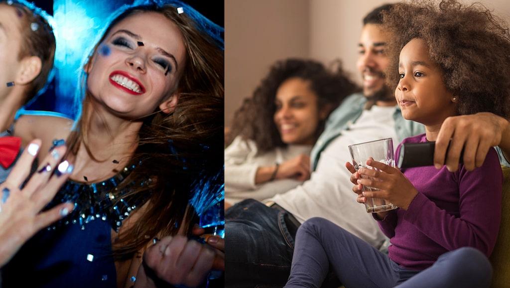 Före barn var det fest i samband med Melodifestivalen. Nu är det mer mys med familjen i soffan.