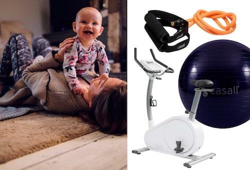 """""""Träna hemma"""", tipsar Elin. Pilatesboll är både bra för hemmapass och för vaggning av bebis"""