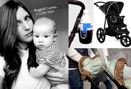 Mamman Natascha diggar mugghållare på barnvagnen.