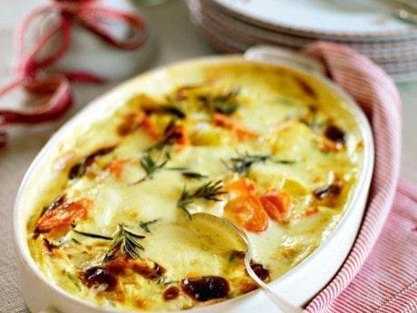 Morotsgratäng med rosmarin och mozzarella