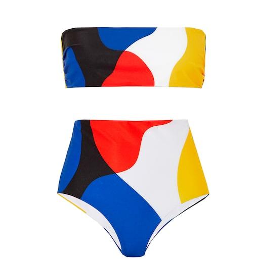Blockfärgad bandeau-bikini.