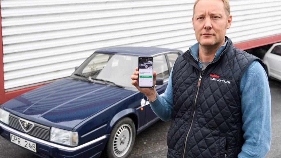 Äkta bil, äkta ägare, men en fejkad annons. Någon annan lade ut Claes Hoffstens Alfa på Blocket.