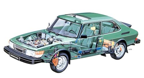 Saab-teknikernas valde att utgå från 99 Combi Coupé och förlänga axelavståndet och överhänget fram. Mitt- och bakparti lämnades i stort sett orörda. Förutom tekniska fördelar fick man också en bil som såg elegant och modern ut.