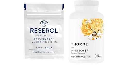 Resveratrol från Reserol och kurkumin från Thorne.