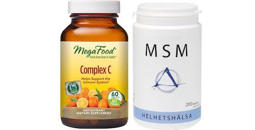 C-vitamin med bioflavinoider från Megafood/Greatlife.se och MSM från Helhetshälsa.