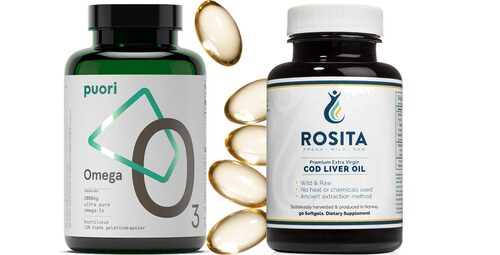 Omega 3-kapslar från Puori och kapslar med torskleverolja från Rosita/Naturshopen.se.