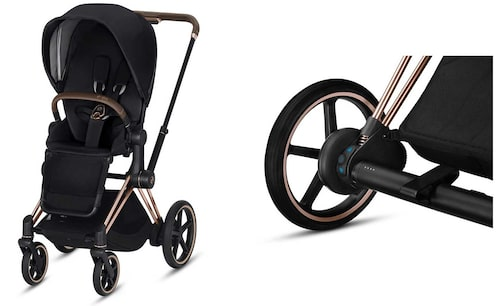 Cybex elbarnvagn kan köras i upp till 45 kilometer. Lysdioder på vagnaxeln anger hur mycket batteritid som finns kvar.