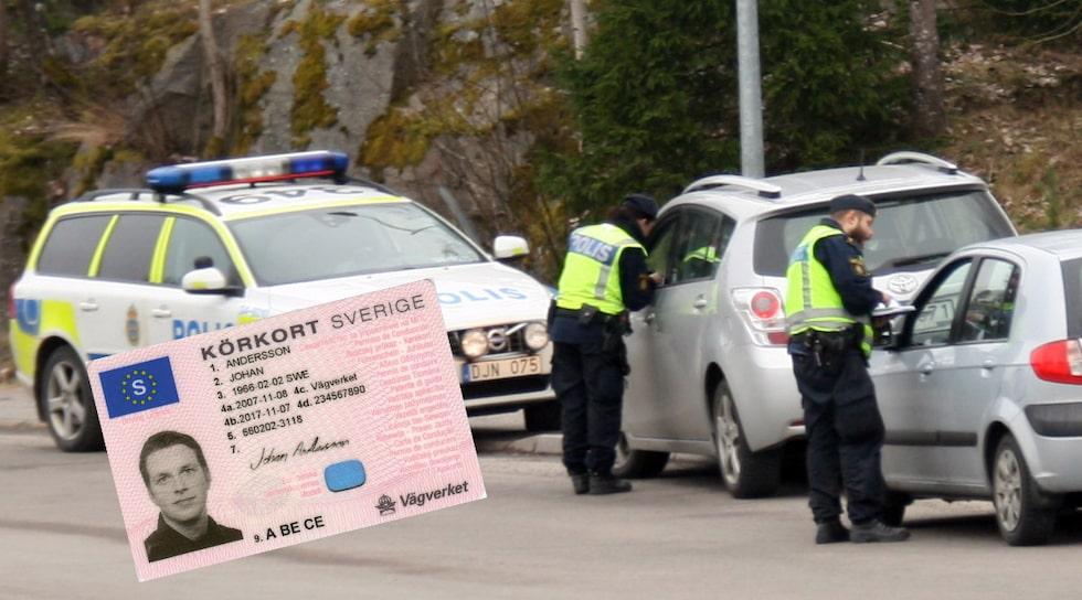 Poliskontrollen på bilden har inget med artikeln att göra. Inte körkortet heller.