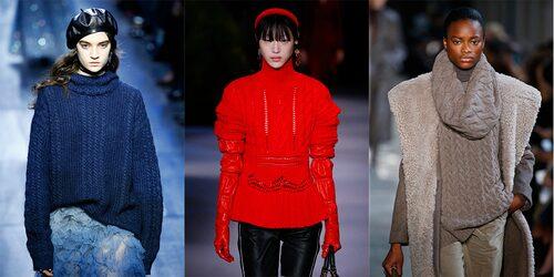Enfärgade stickade tröjor direkt från catwalken. Från vänster: Christian Dior, Altuzarra och Max Mara.