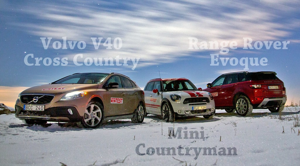 Volvo V40 Cross Country, Mini John Cooper Works Countryman och Range Rover Evoque